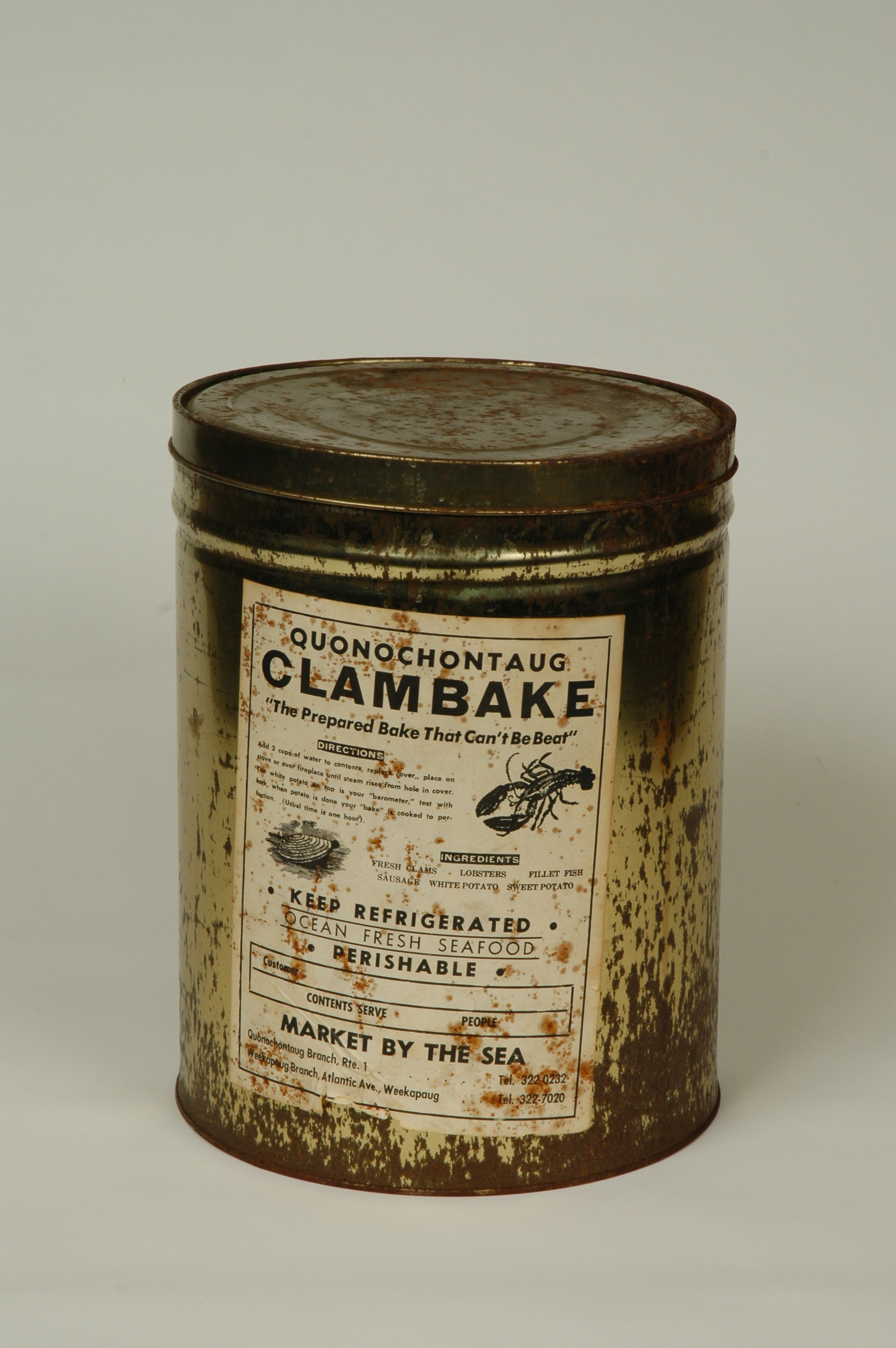 Quonochontaug Clam Bake Can ca. 1970. RIHS Museum Collection.